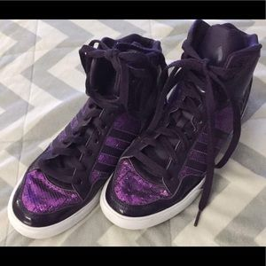 Adidas size 7.5 purple sequin sneakers